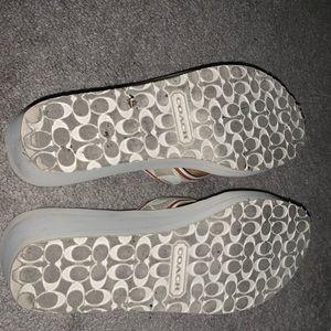 Coach Shoes - Coach Size 8.5 Off White Wedge Flip Flops